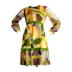 "1960s Vintage Rodrigues Mod Silk Neiman Marcus "" Twiggy "" Op - Art Dress"
