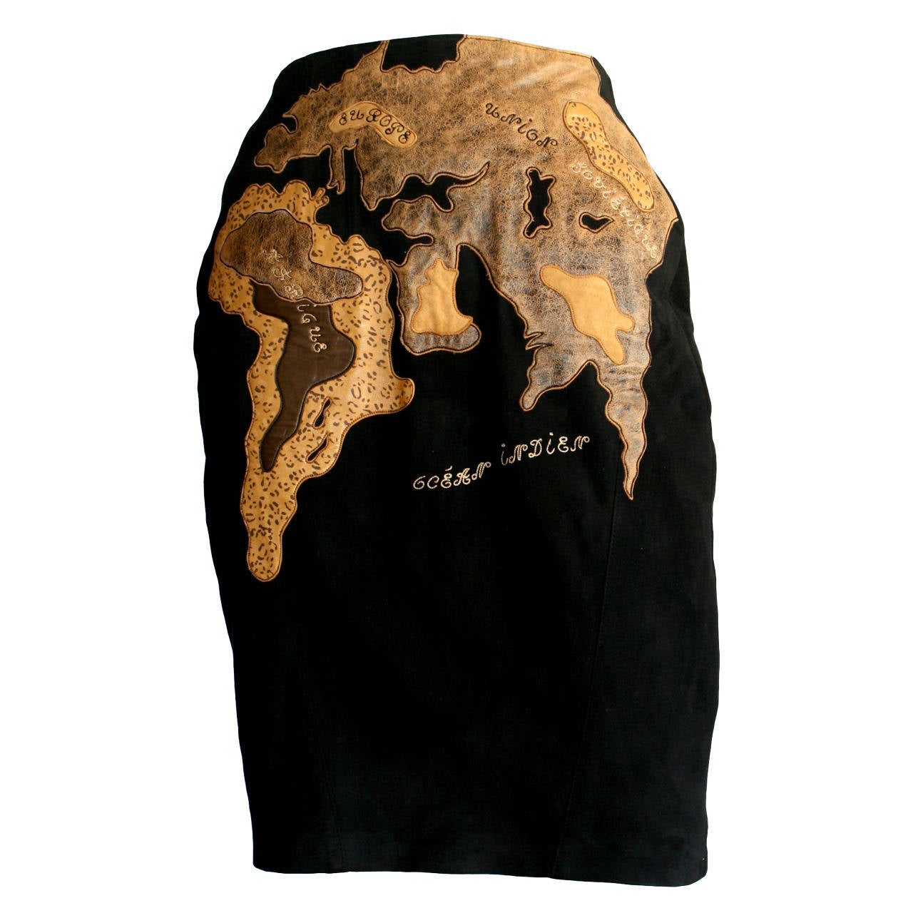 Vintage Jean Claude Jitrois Leather Map Of The World Haute