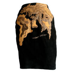 """Vintage Jean Claude Jitrois Leather """" Map of the World """" Haute Couture Skirt"""