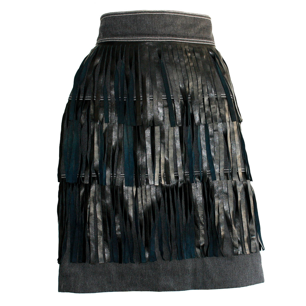 Rare Vintage Patrick Kelly Denim Leather Fringe Flapper Skirt