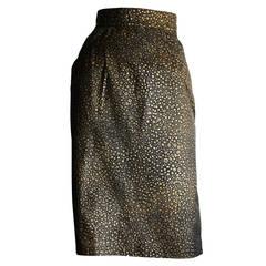 Vintage Yves Saint Laurent Rive Gauche Pig Leather Gold Black Splatter Skirt