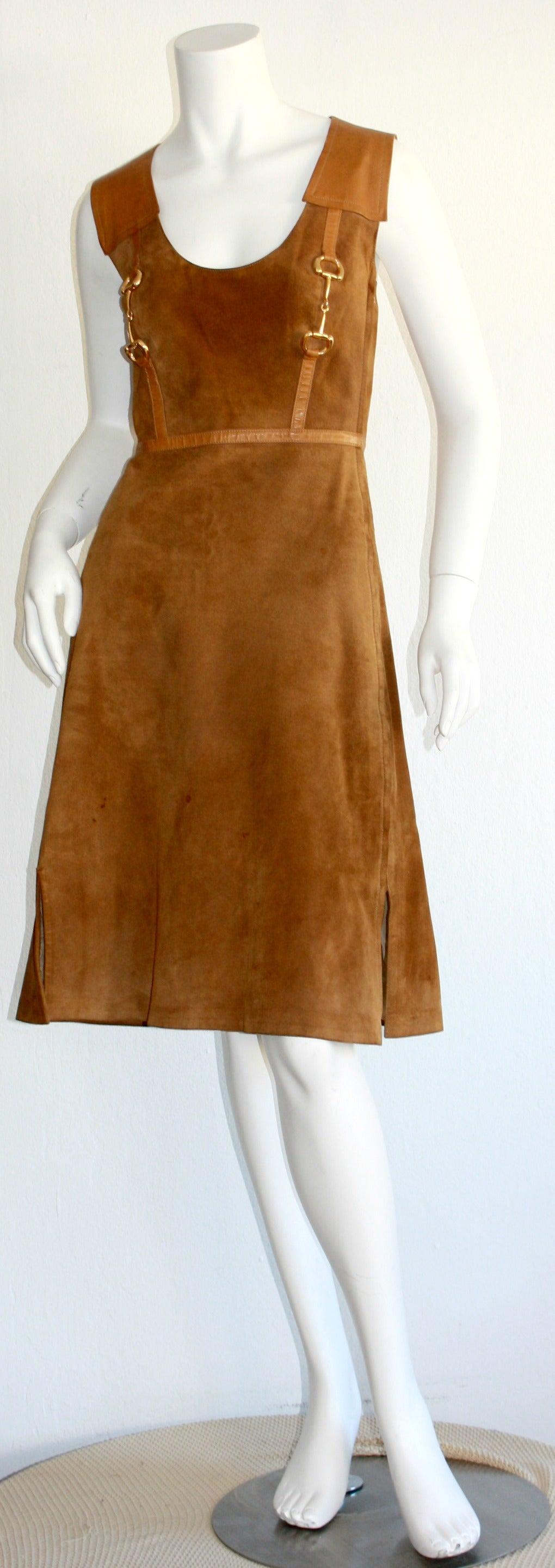 Rare Vintage 1960s Gucci Tan Leather Horsebit A - Line Space Age Dress 3