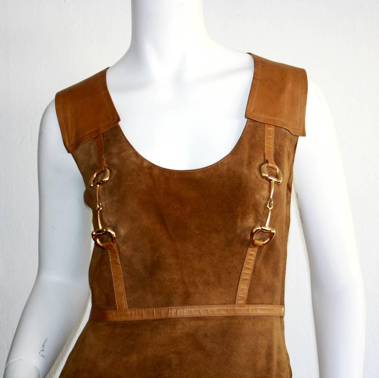 Rare Vintage 1960s Gucci Tan Leather Horsebit A - Line Space Age Dress 2