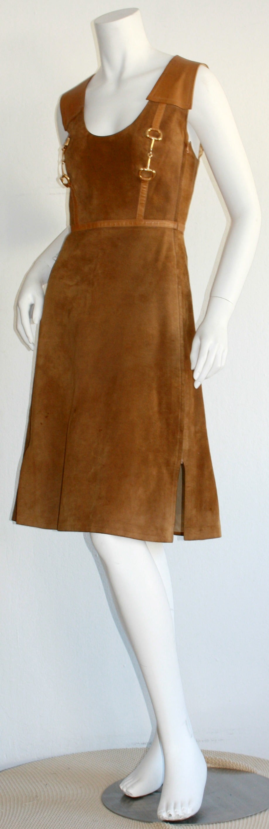 Rare Vintage 1960s Gucci Tan Leather Horsebit A - Line Space Age Dress 5