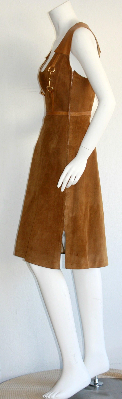 Rare Vintage 1960s Gucci Tan Leather Horsebit A - Line Space Age Dress 6