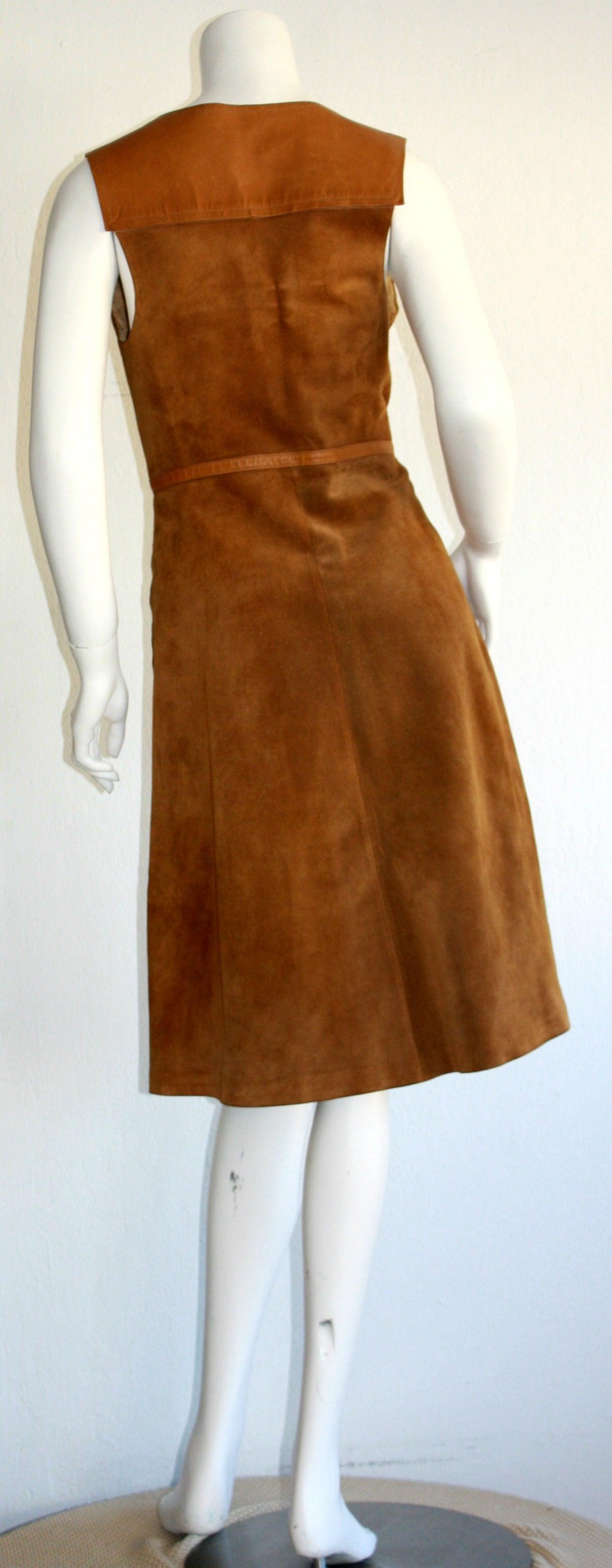 Rare Vintage 1960s Gucci Tan Leather Horsebit A - Line Space Age Dress 4