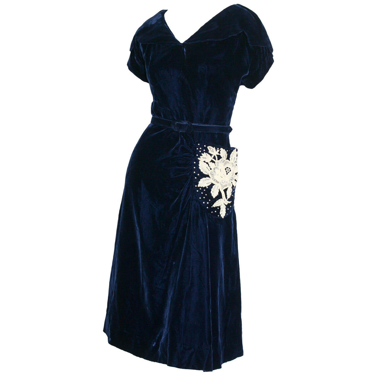 Beautiful 1940s Vintage Royal Blue Silk Velvet Dress w/ Lace & Rhinestones 1