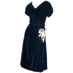 Beautiful 1940s Vintage Royal Blue Silk Velvet Dress w/ Lace & Rhinestones