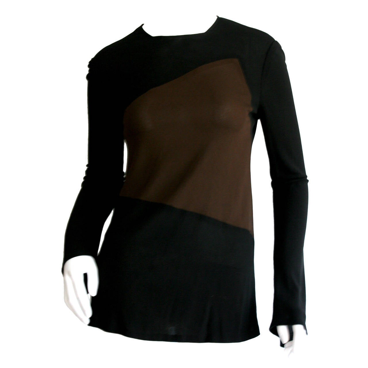 1990s Vintage Calvin Klein Collection Black and Brown Color Block Silk Top