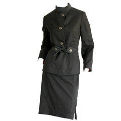 1940s Vintage Don Loper of Bevery Hills Charcoal Skirt Suit