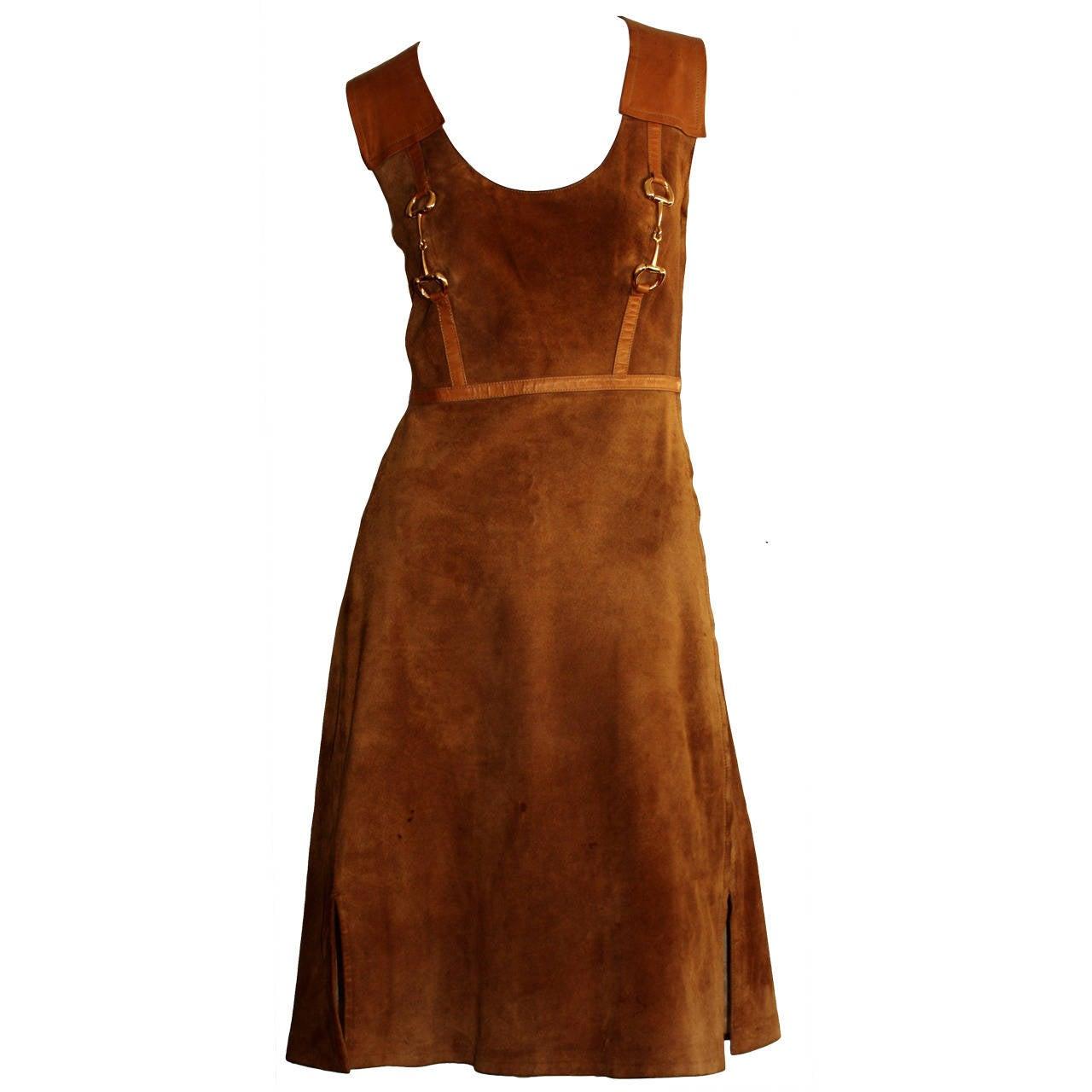 Rare Vintage 1960s Gucci Tan Leather Horsebit A - Line Space Age Dress 1
