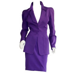 Chic Vintage Thierry Mugler Purple Signature Skirt Suit