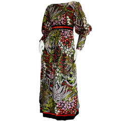 Wonderful Vintage Mollie Parnis Silk Floral Long Sleeve Maxi Dress