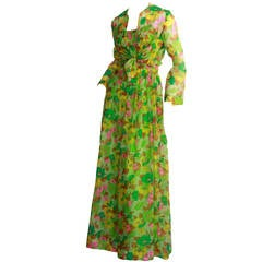 Vintage Teal Traina Dress & Jacket Ensemble Lime Green Silk Flower Print