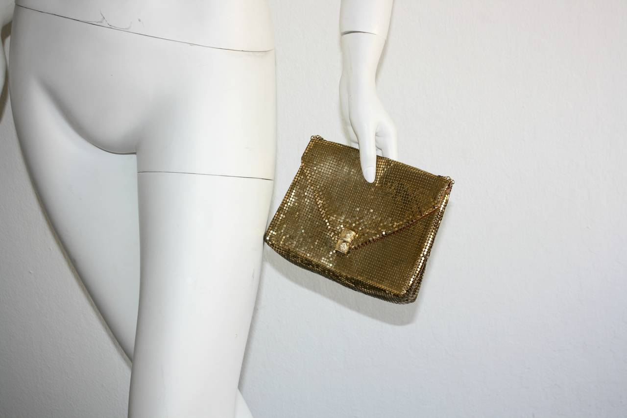 1960s Vintage Whiting and Davis Gold Metal Mesh Handbag or Clutch 3