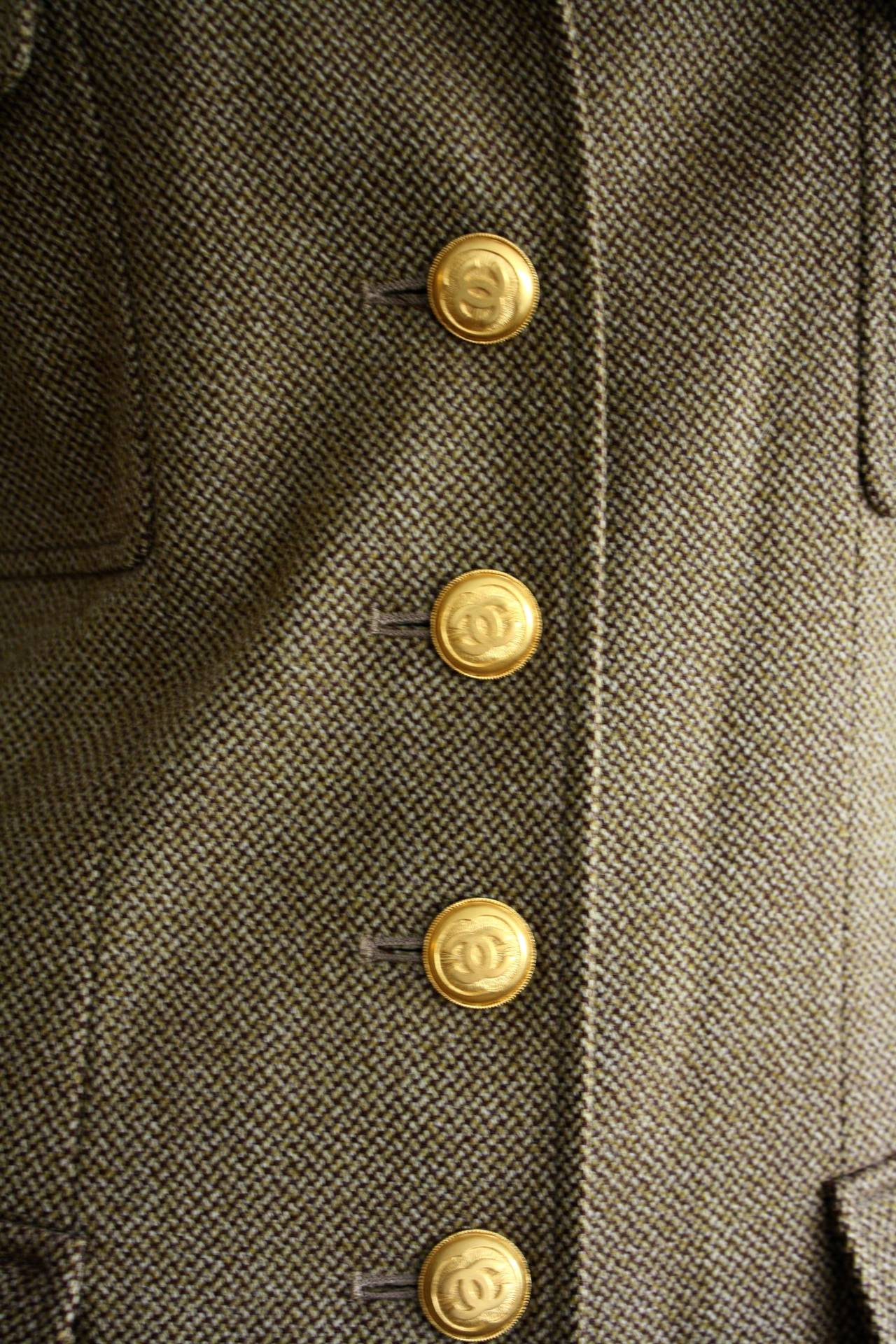 Brown Vintage Chanel 96A Military Sz 42 Jacket Gold Logo Buttons Brand New w/ Tags For Sale
