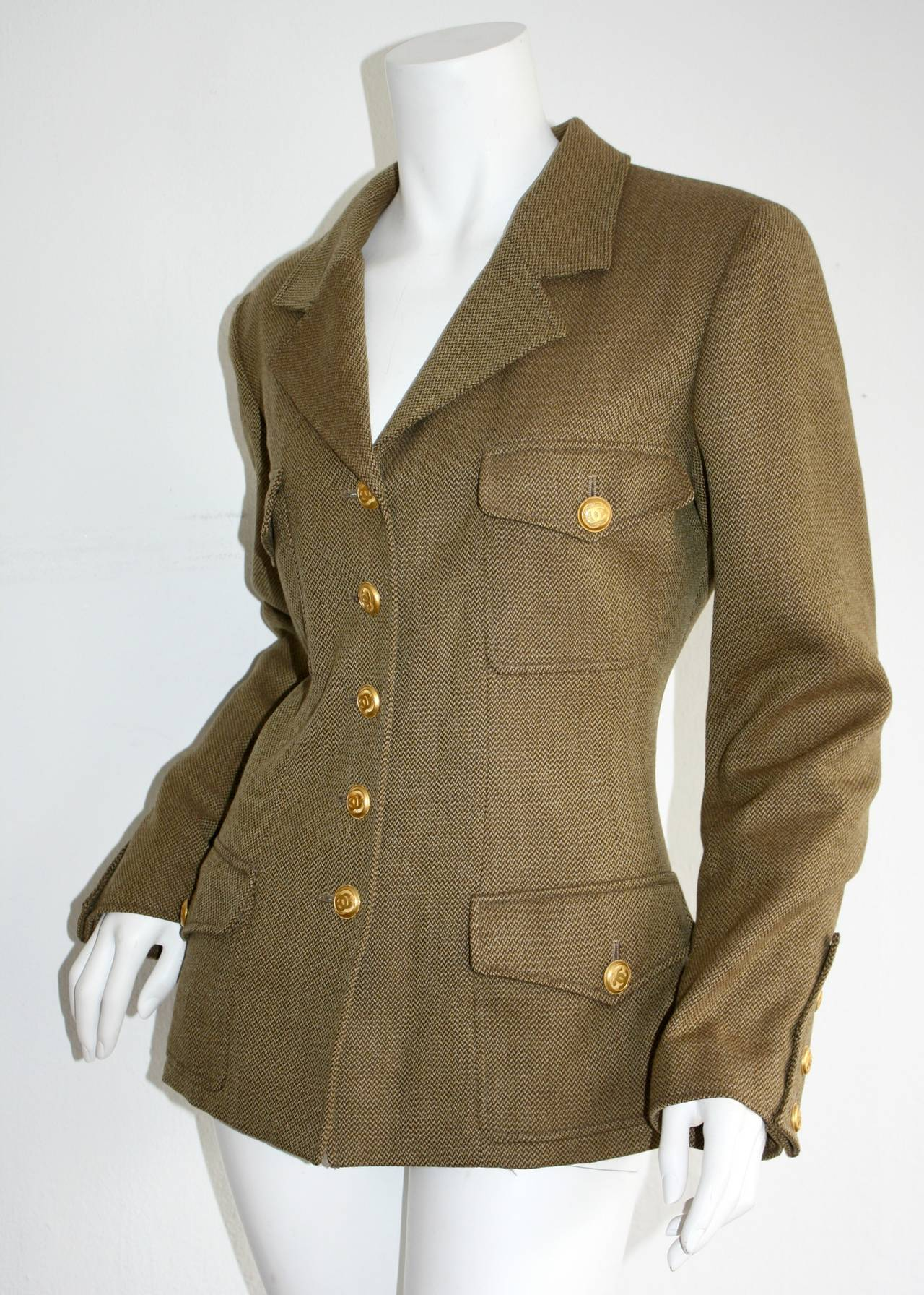 Women's Vintage Chanel 96A Military Sz 42 Jacket Gold Logo Buttons Brand New w/ Tags For Sale