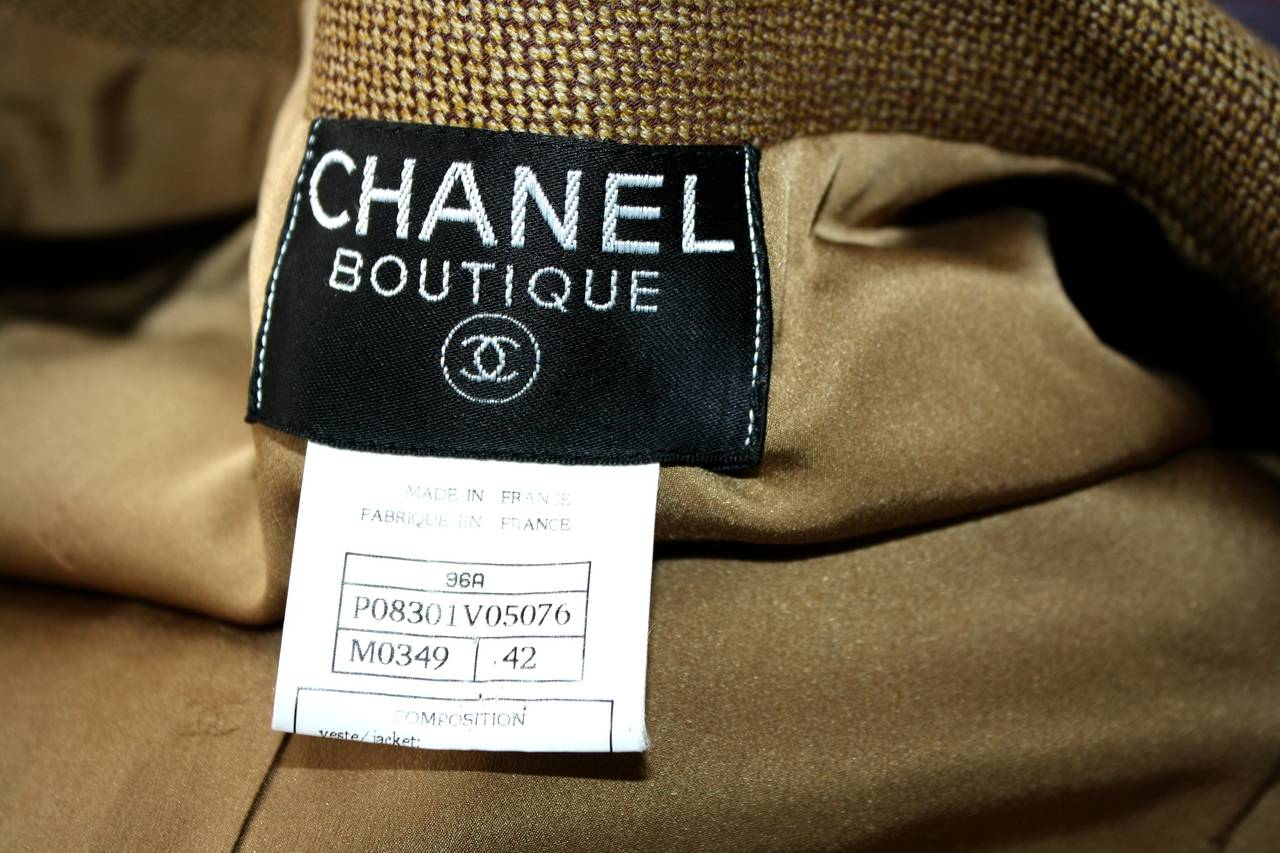 Vintage Chanel 96A Military Sz 42 Jacket Gold Logo Buttons Brand New w/ Tags For Sale 4