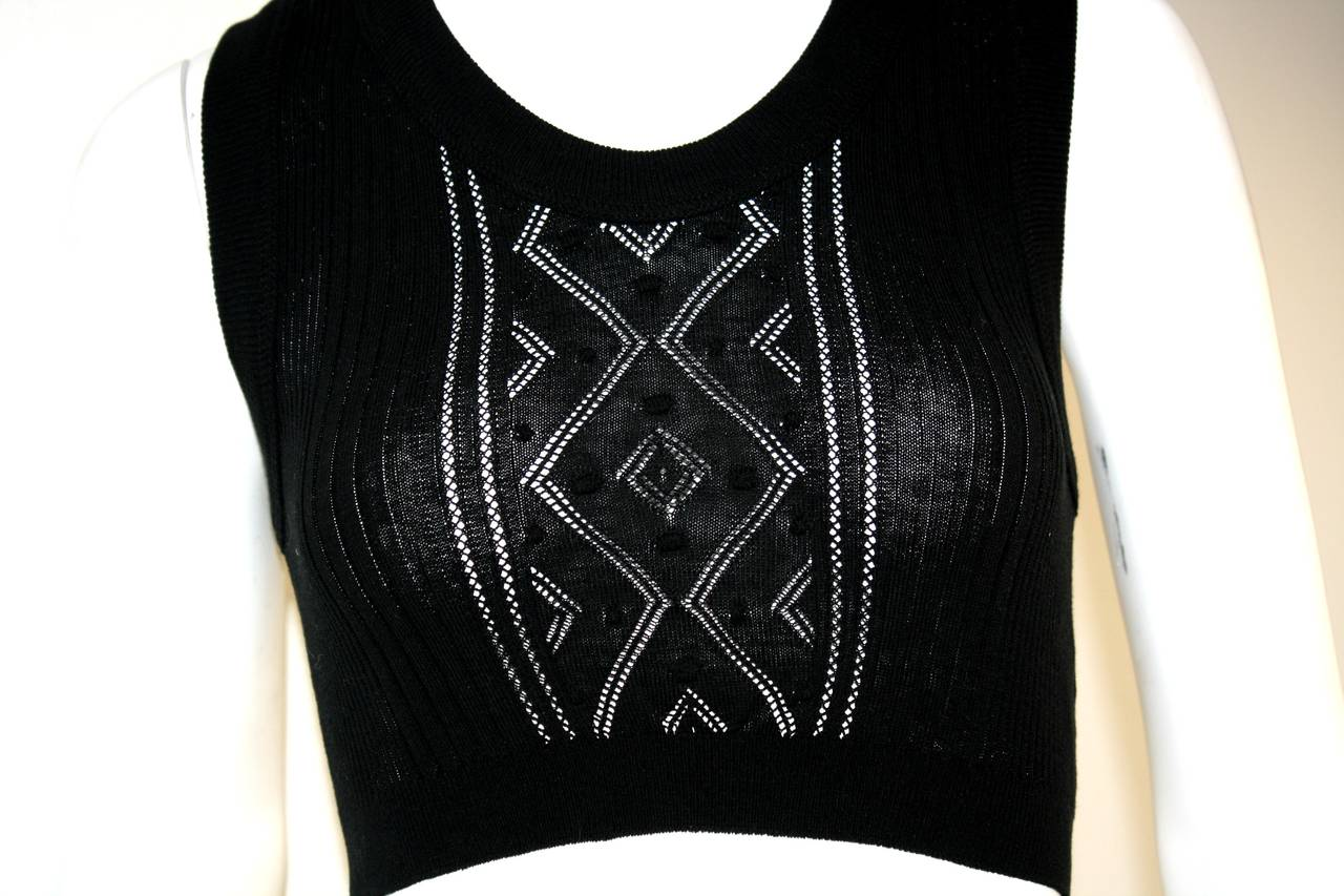 Sexy Vintage Jean Paul Gaultier Geometric Crochet Black Crop Top 5