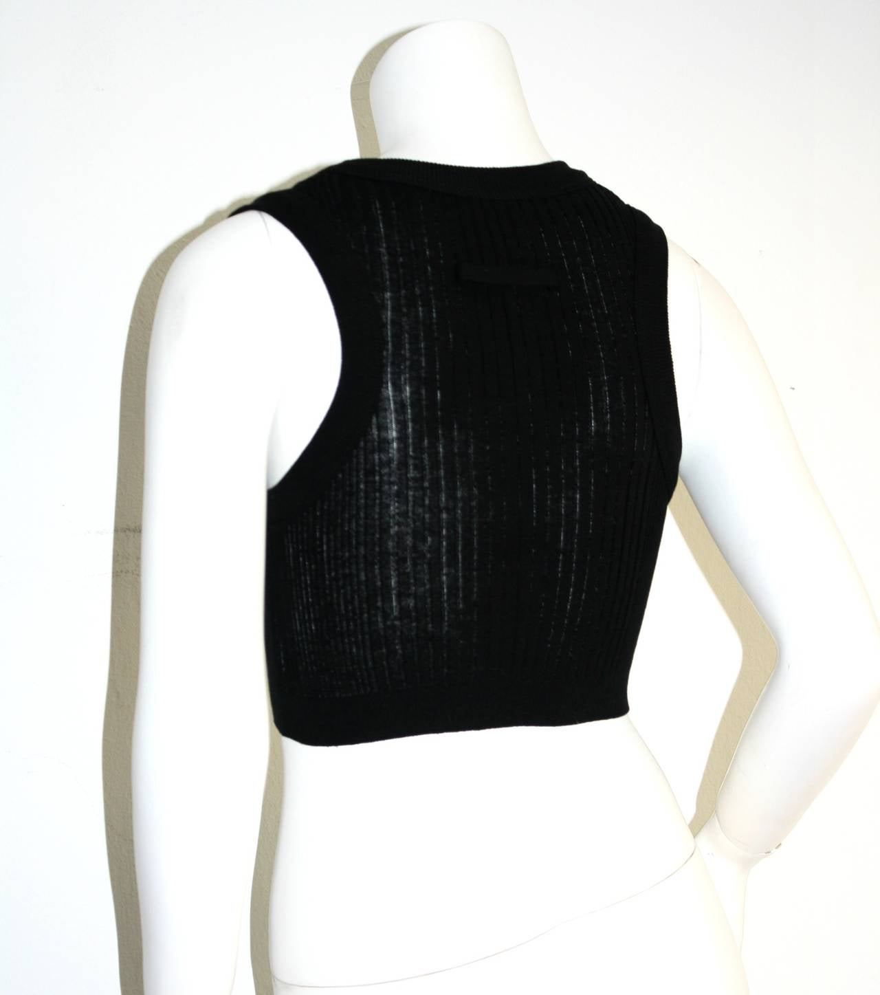 Sexy Vintage Jean Paul Gaultier Geometric Crochet Black Crop Top 6