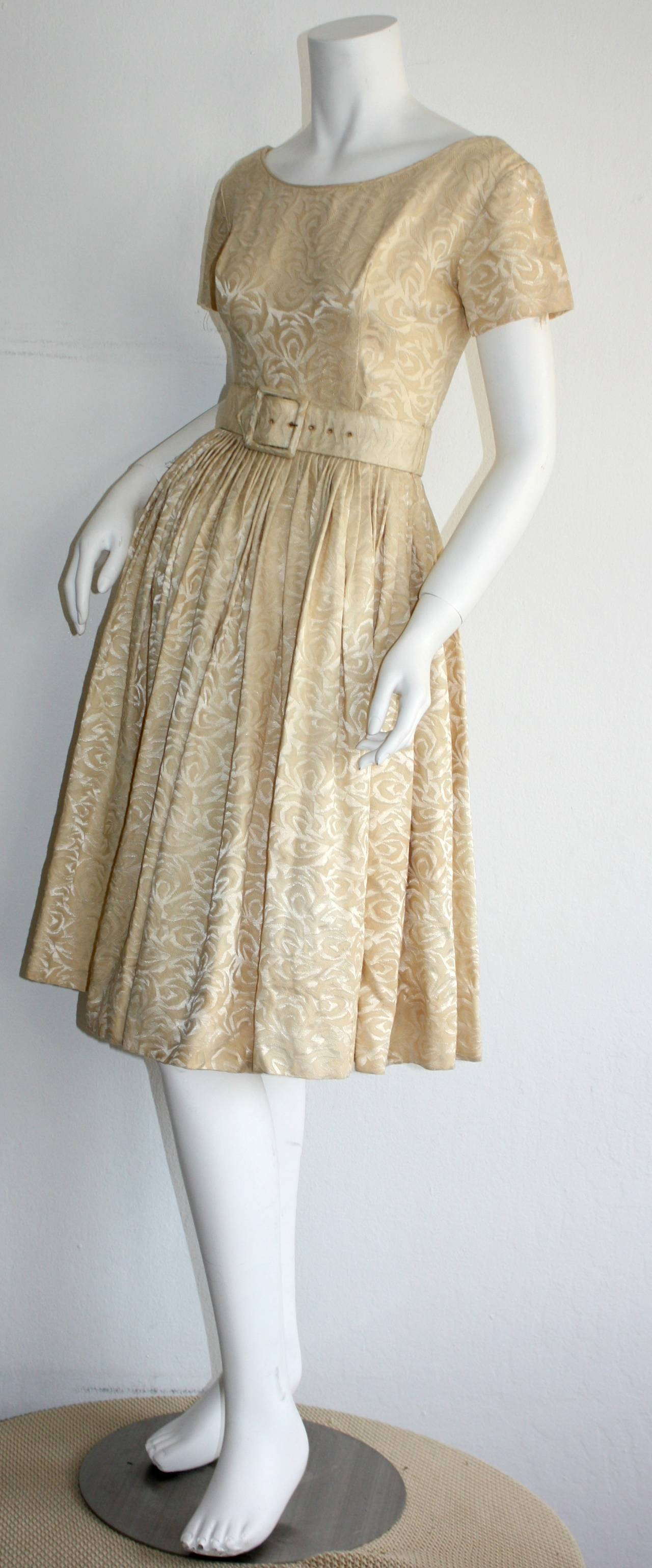 1950s Gigi Young Ivory Floral Silk Dress w/ Belt and Full Skirt For Sale 1
