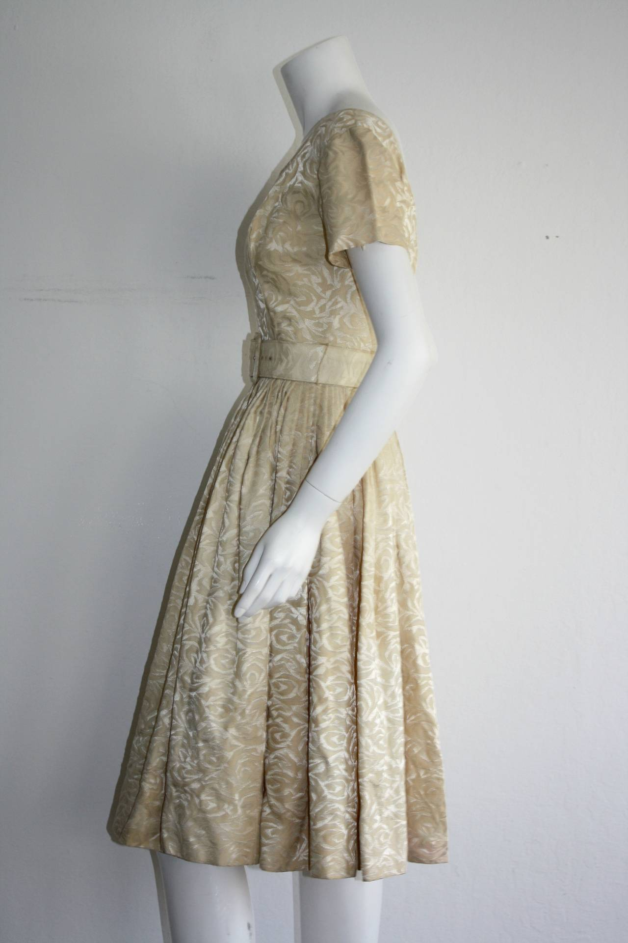 Beige 1950s Gigi Young Ivory Floral Silk Dress w/ Belt and Full Skirt For Sale