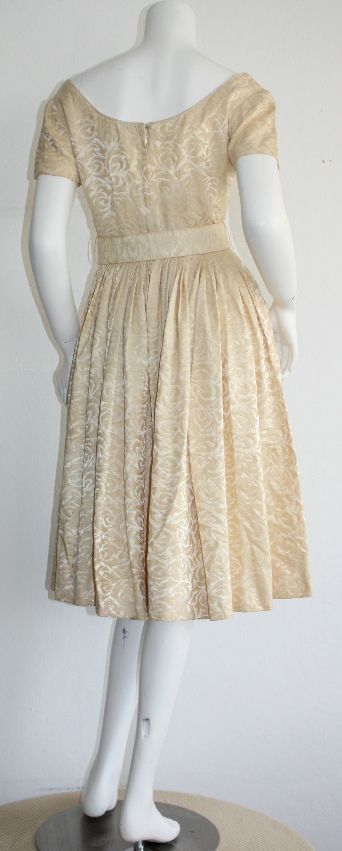 Women's 1950s Gigi Young Ivory Floral Silk Dress w/ Belt and Full Skirt For Sale