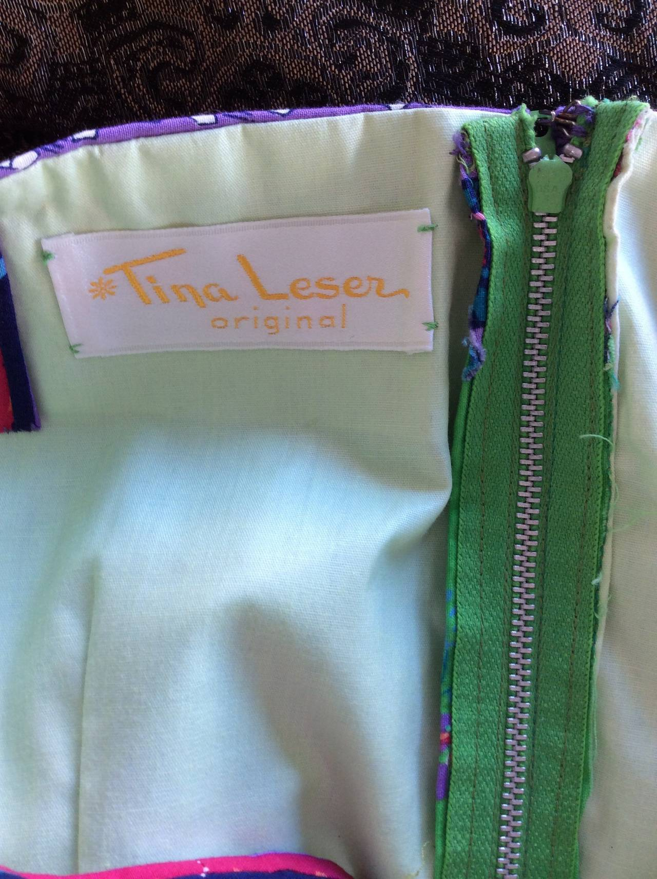 1960s Vintage Tina Leser Green Floral Print 2 - Piece Dress Ensemble For Sale 5
