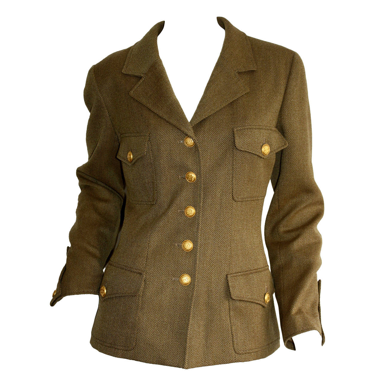 Vintage Chanel 96A Military Sz 42 Jacket Gold Logo Buttons Brand New w/ Tags For Sale