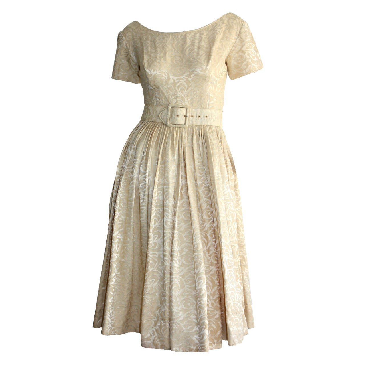 1950s Gigi Young Ivory Floral Silk Dress w/ Belt and Full Skirt For Sale