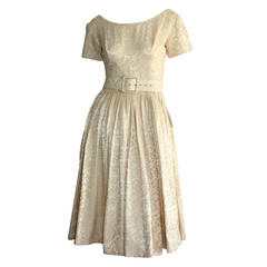 1950s Gigi Young Ivory Floral Silk Dress w/ Belt and Full Skirt