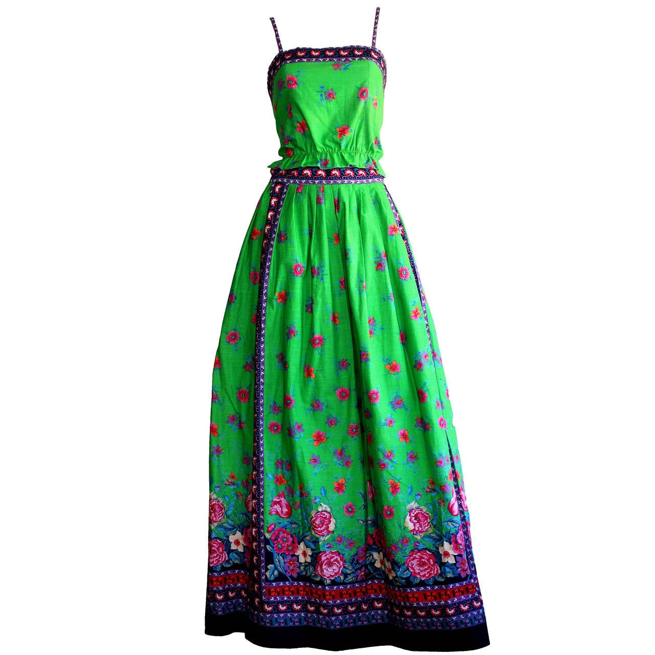 1960s Vintage Tina Leser Green Floral Print 2 - Piece Dress Ensemble For Sale