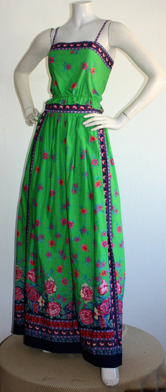 1960s Vintage Tina Leser Green Floral Print 2 - Piece Dress Ensemble 2