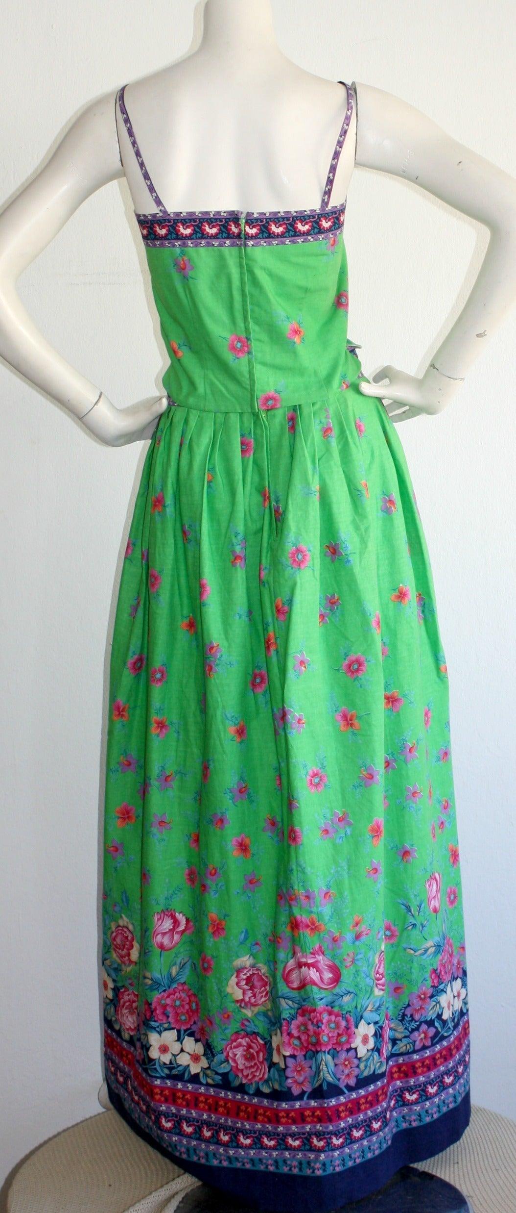 Blue 1960s Vintage Tina Leser Green Floral Print 2 - Piece Dress Ensemble For Sale