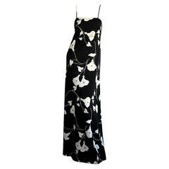 Estevez 1970s Black and White Lily Flower Print Vintage Jersey Gown Maxi Dress