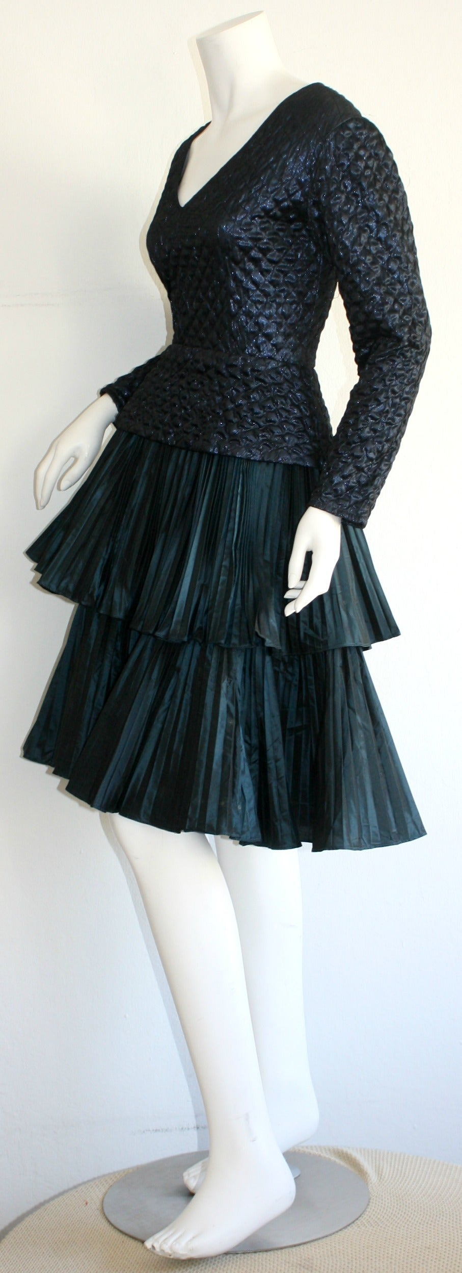 Bernard Perris Beautiful Navy Blue Metallic Quilted Accordion Tiered Dress For Sale 2
