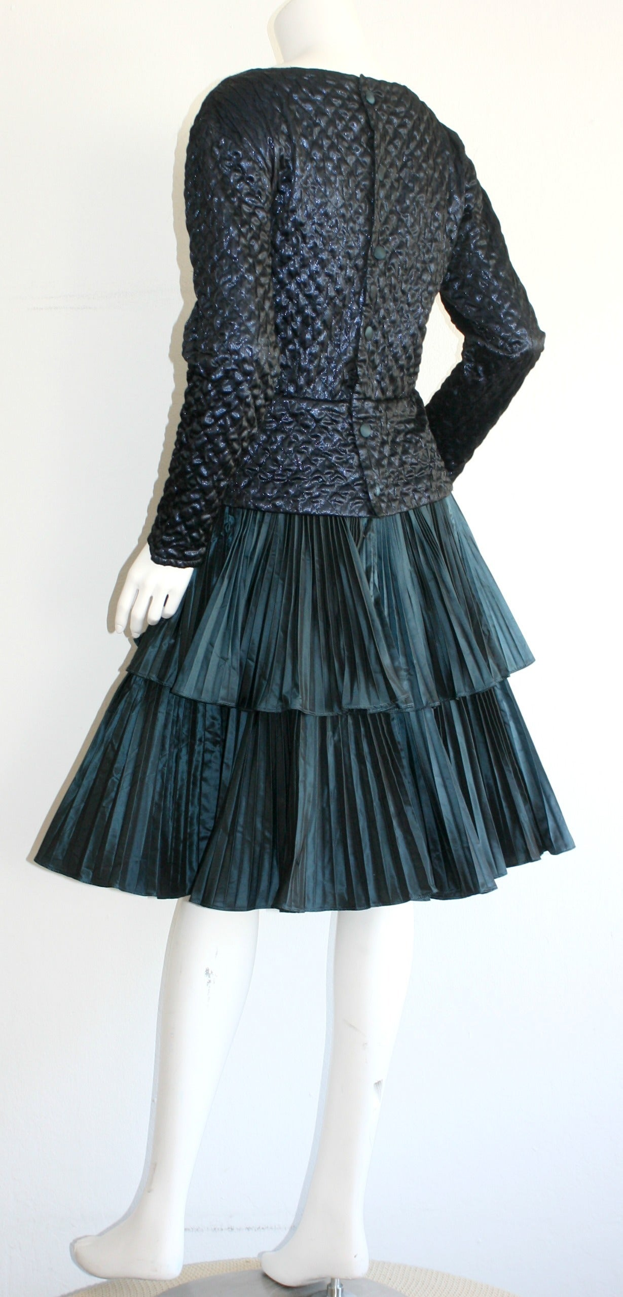 Bernard Perris Beautiful Navy Blue Metallic Quilted Accordion Tiered Dress For Sale 1