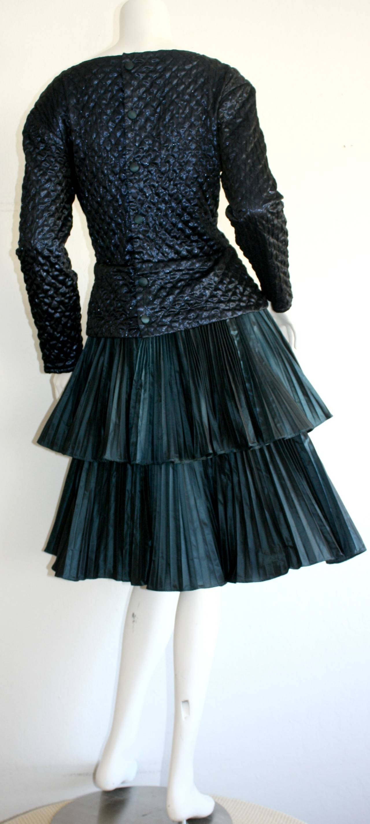 Women's Bernard Perris Beautiful Navy Blue Metallic Quilted Accordion Tiered Dress For Sale