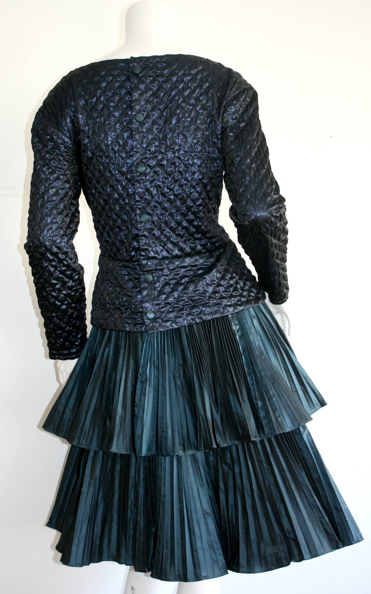 Bernard Perris Beautiful Navy Blue Metallic Quilted Accordion Tiered Dress For Sale 4