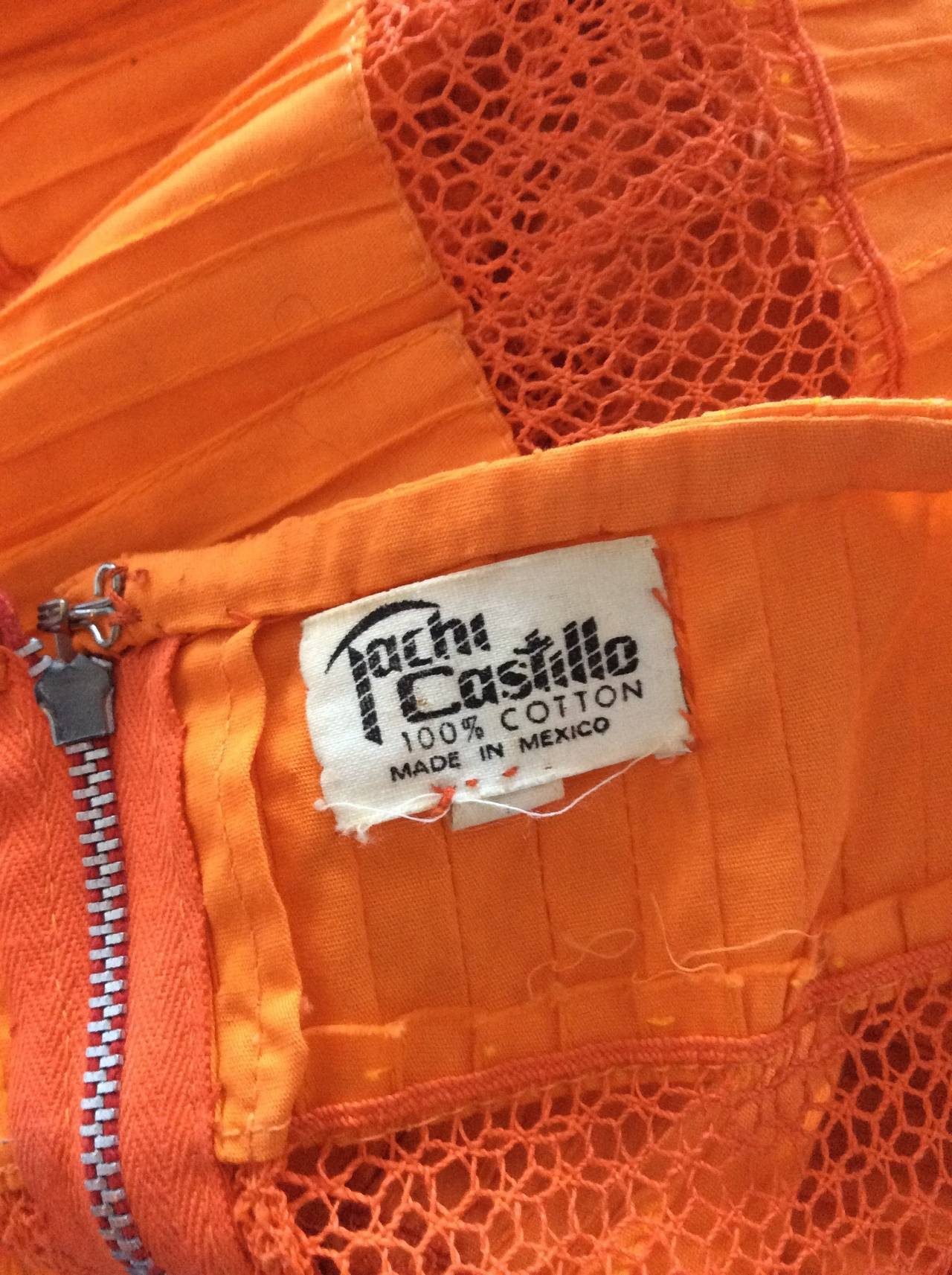 Tachi Castillo Vintage 1970s Orange Cotton Crochet Mexican Maxi Dress 8