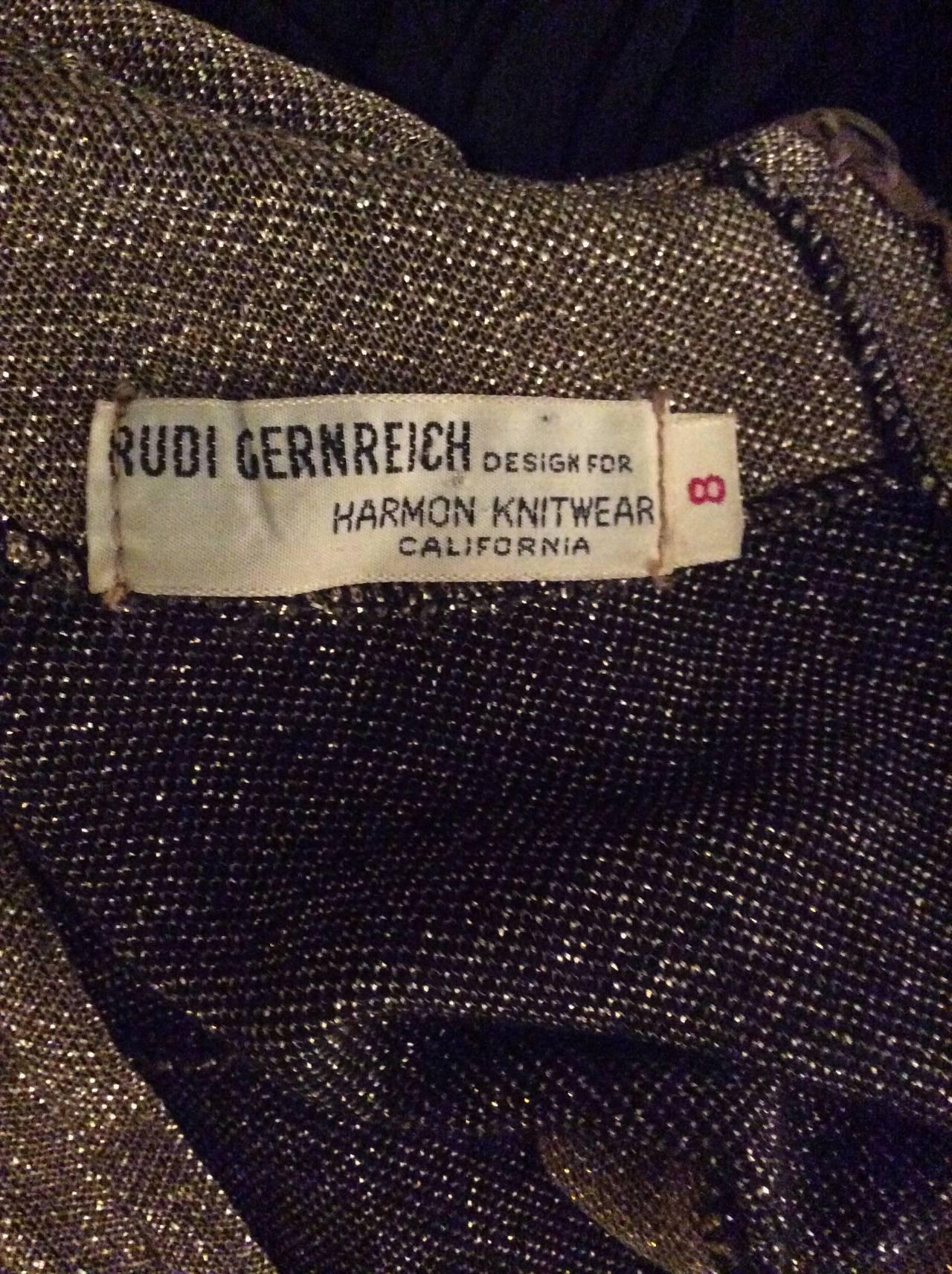 Rudi Gernreich For Harmon Knits 1960s Gold Metallic Dress 7