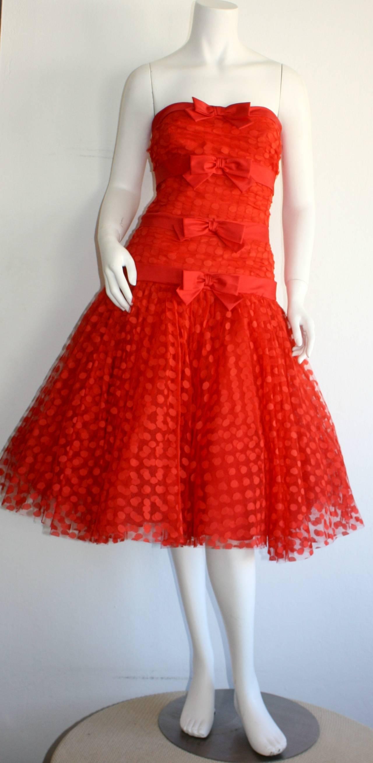 Incredible Vintage Jill Richards for Elizabeth Arden Red Valentine's Day Dress 2