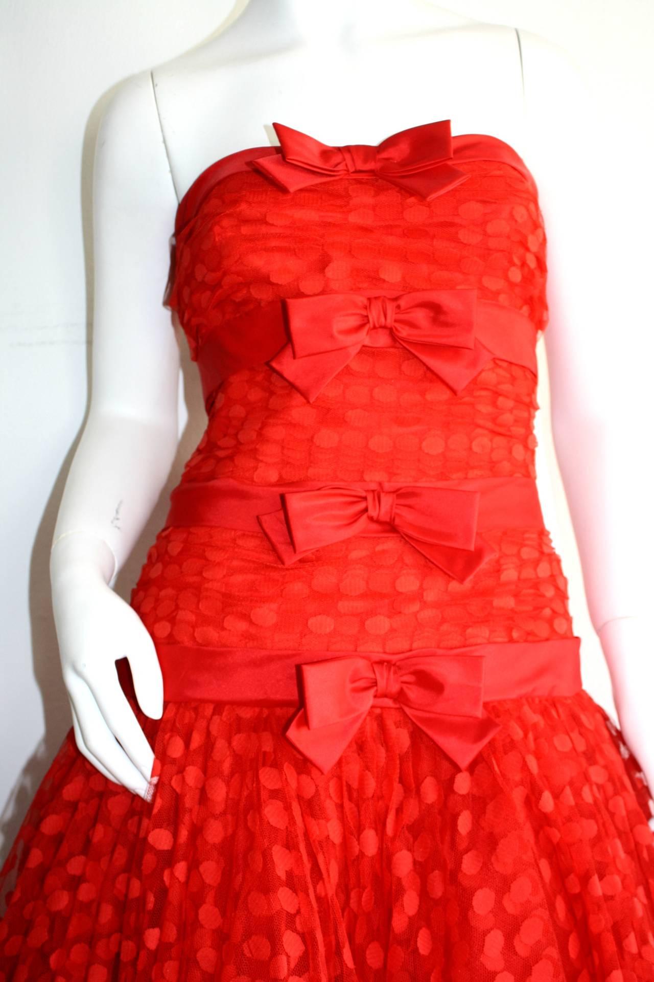 Incredible Vintage Jill Richards for Elizabeth Arden Red Valentine's Day Dress 4