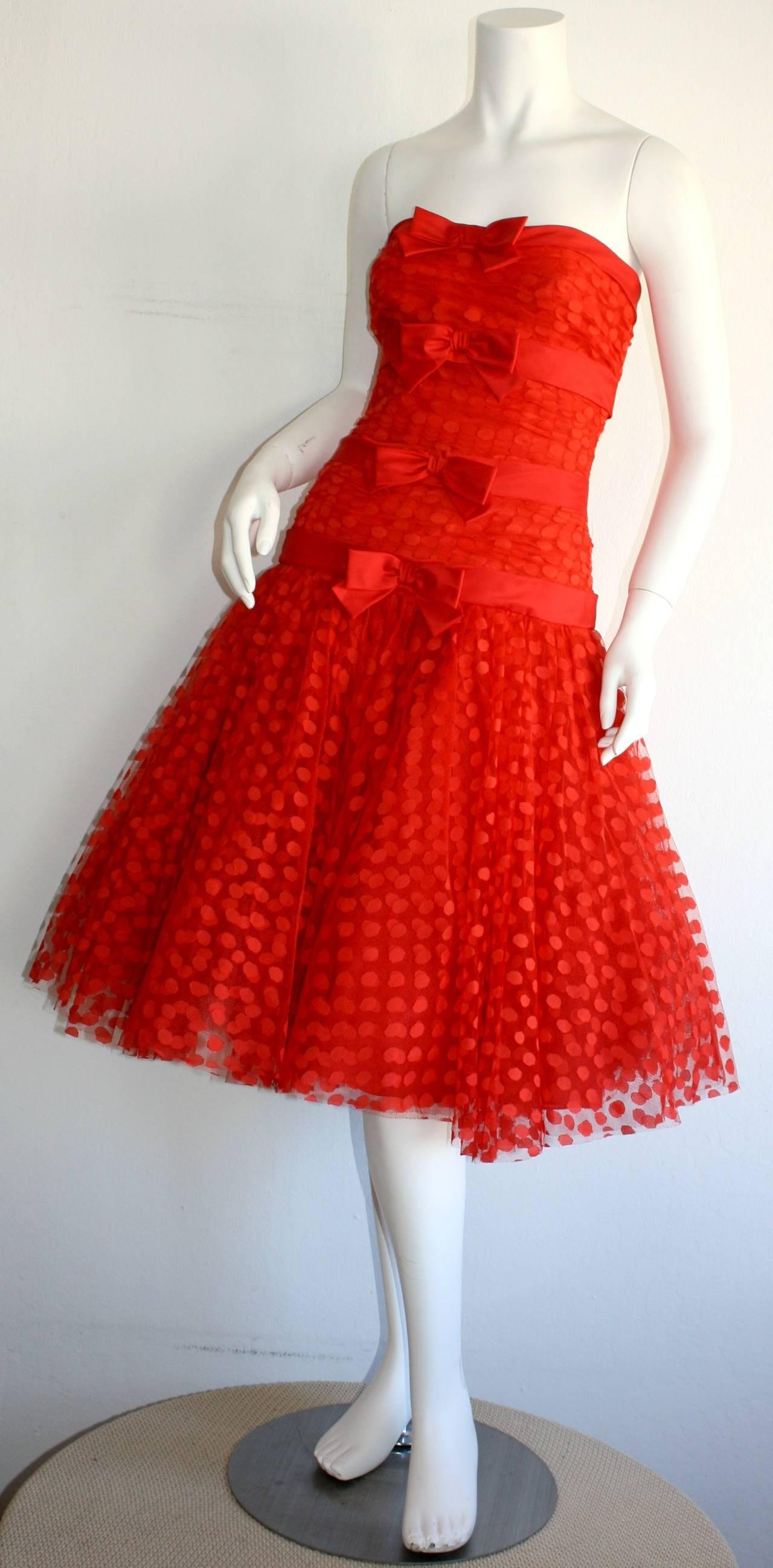 Incredible Vintage Jill Richards for Elizabeth Arden Red Valentine's Day Dress 3