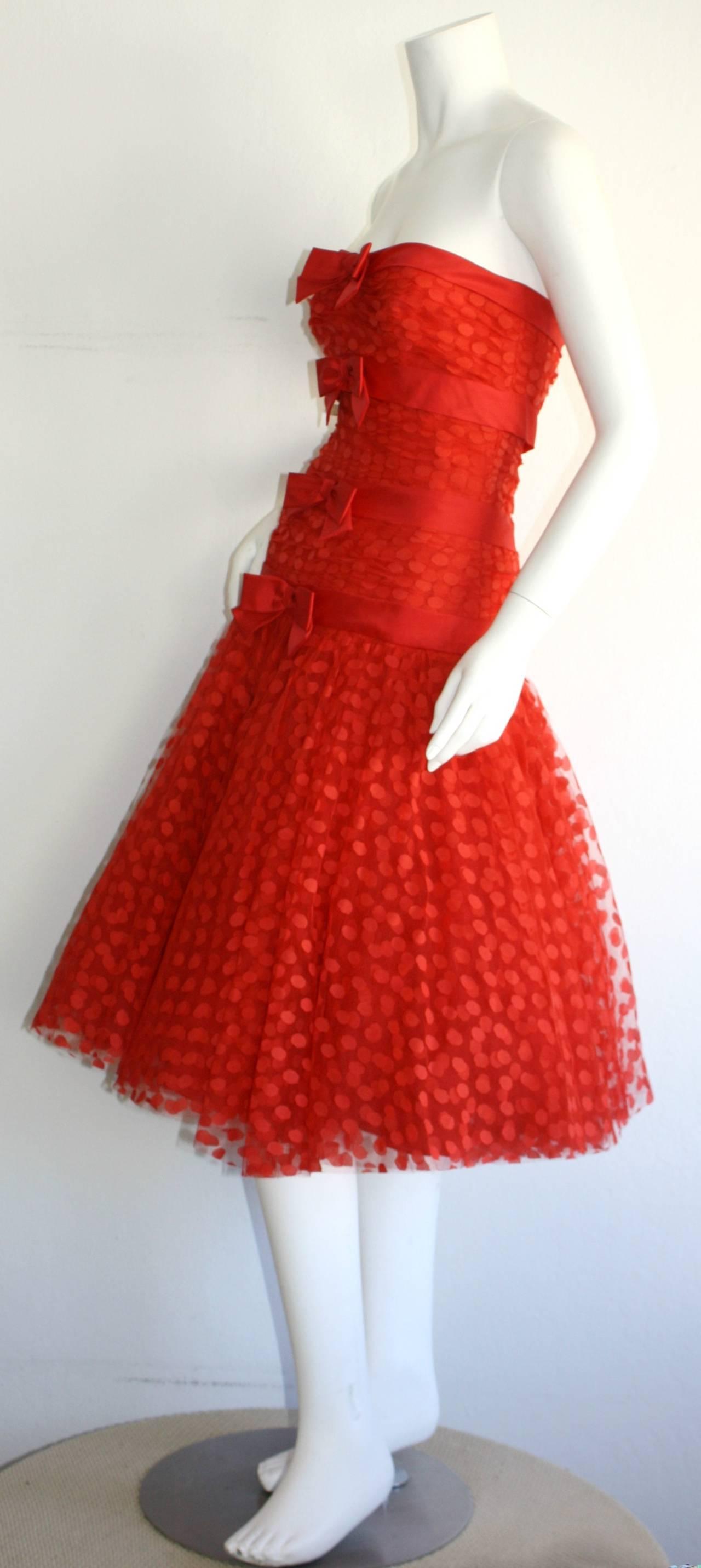 Incredible Vintage Jill Richards for Elizabeth Arden Red Valentine's Day Dress 6