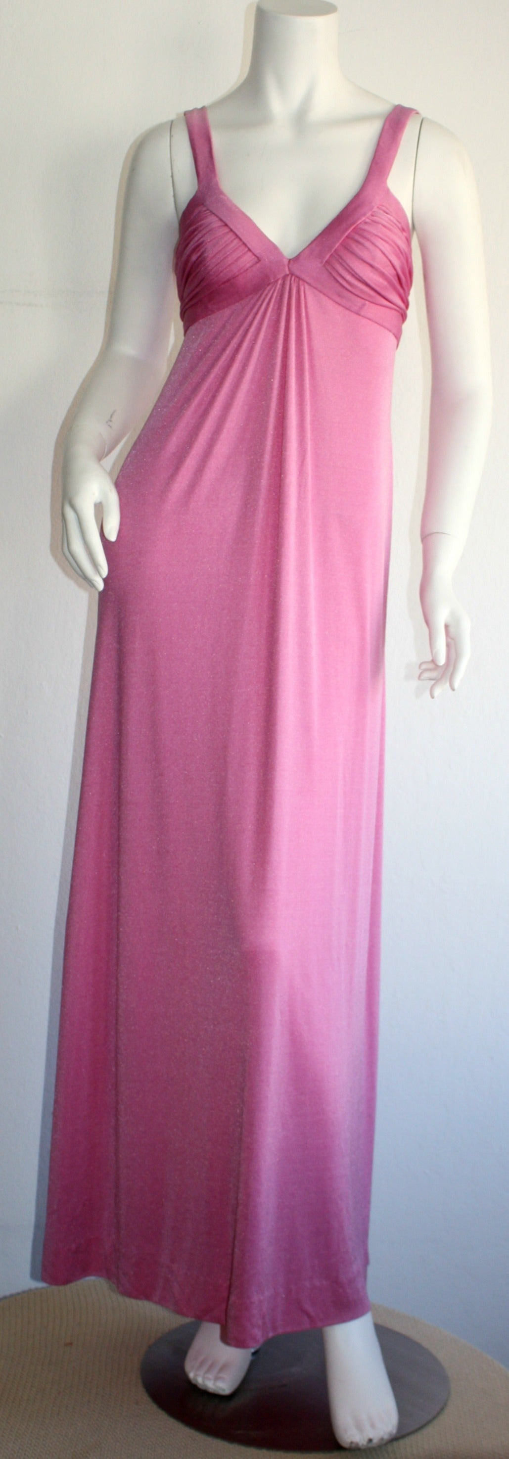 Loris Azzaro 1970s Silk Jersey Vintage Pink Empire Dress Gown In Excellent Condition For Sale In San Francisco, CA