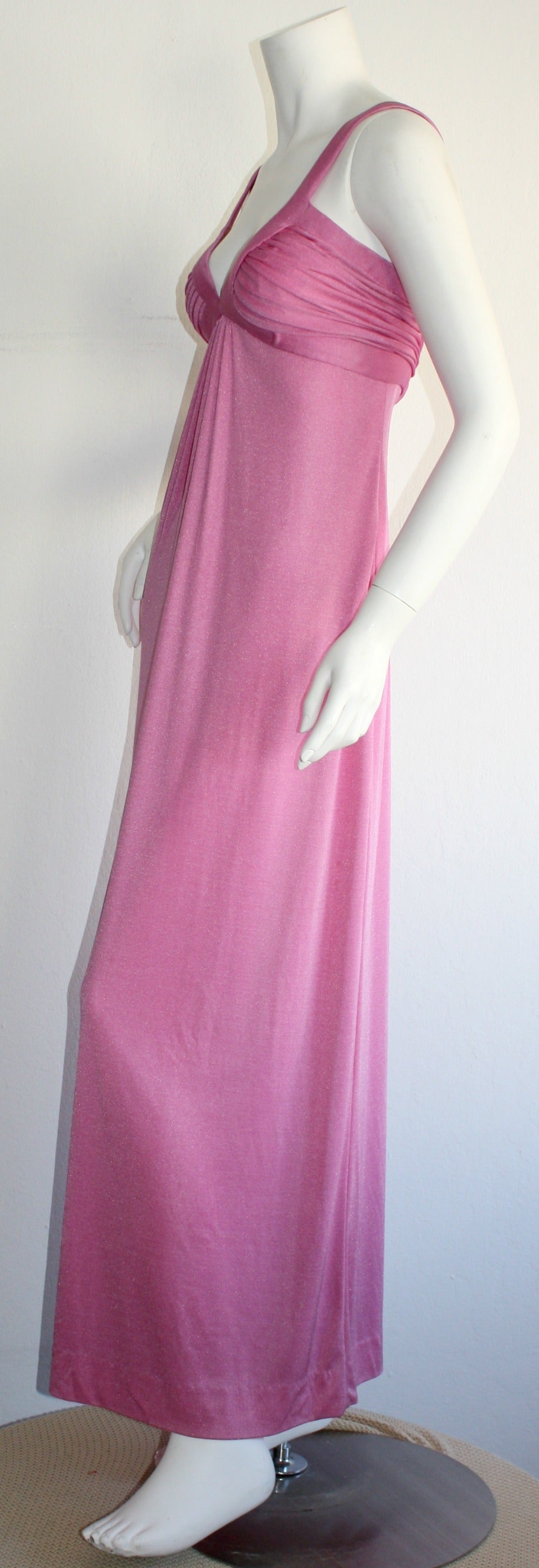 Women's Loris Azzaro 1970s Silk Jersey Vintage Pink Empire Dress Gown For Sale