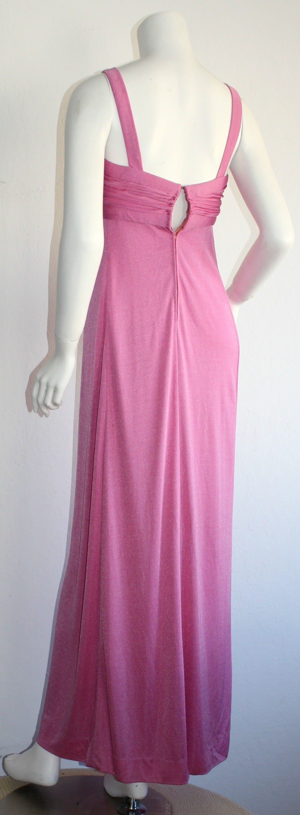 Loris Azzaro 1970s Silk Jersey Vintage Pink Empire Dress Gown For Sale 1