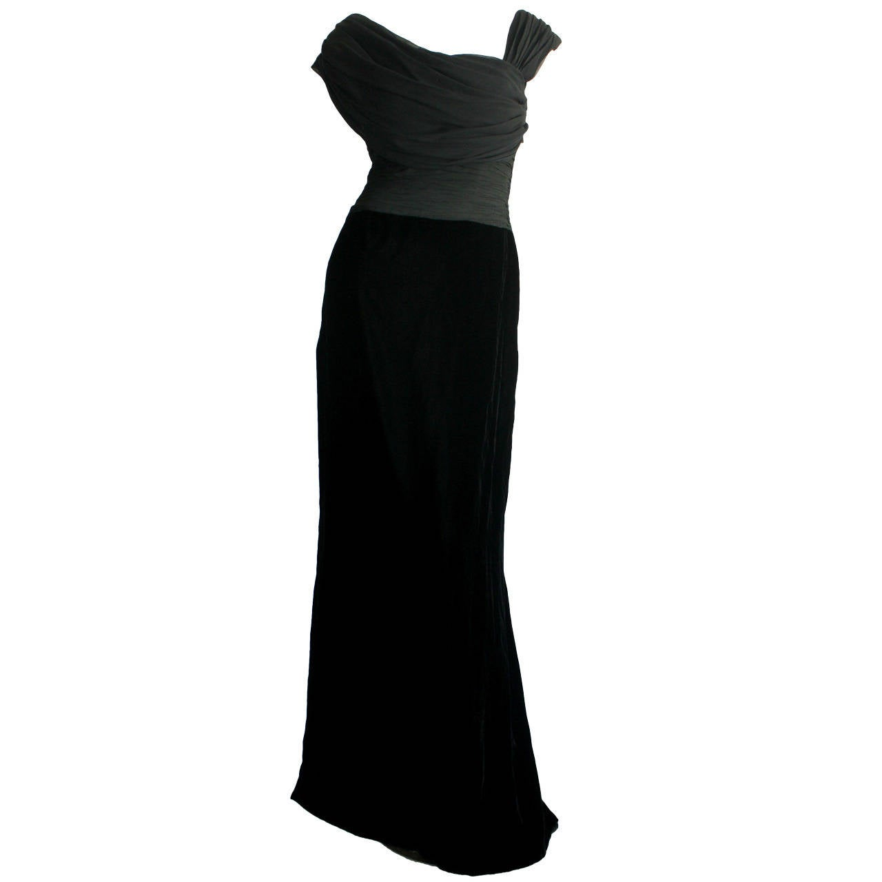 Remarkable Vintage Oscar de la Renta Black Velvet & Chiffon Grecian Gown 1