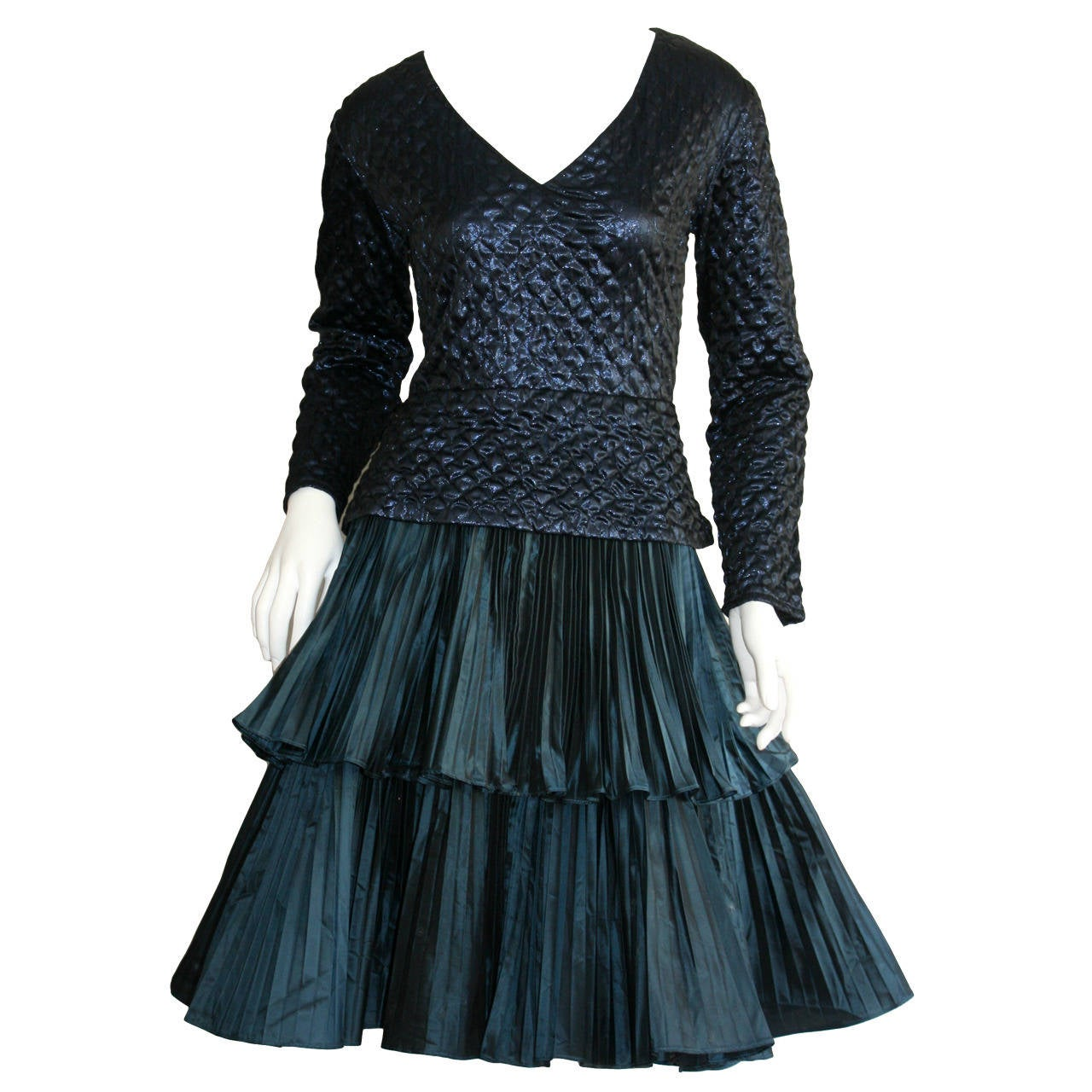 Bernard Perris Beautiful Navy Blue Metallic Quilted Accordion Tiered Dress For Sale